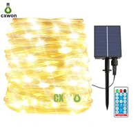 Upgraded 23M 200LEDs Solar LED String Lights Outdoor Fairy 8 Modes Green Wire Multicolor Light Strings Waterproof Christmas Lamp for Outside Warm White