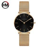 36mm 골드 블랙 일본 쿼츠 운동 간단한 바우 하우스 디자인 숙녀 시계 스테인레스 스틸 메쉬 밴드 방수 여성 시계 손목 시계