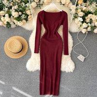 Heeylace slim sexy club otoño bodycon suéter de punto vestido largo casual invierno fiesta mujeres estirar túnica elegantes vestidos