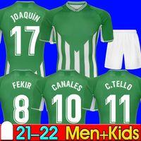 21 22 Real Betis Soccer Jerseys Joaquin Canales C.Tello Loren Boudebouz Bartra Football Shirts Home Green 2021 2022 Commemorative Edition Fekir 8 Man Kids Set Kit 99