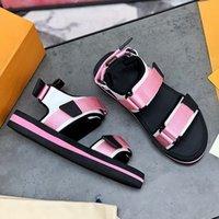 Arcade flache Sandalbänder Bicolor Micro-Außensohle Pink / Schwarz / Blau / Orange / Blue Luxurys Designer Sandalen