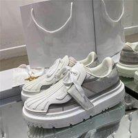 مصمم فاخر عارضة أحذية جلدية إمرأة معرف أحذية رياضية العجل عداء المدربين الأبيض chaussures النساء منصة الأحذية مع المربع الأصلي
