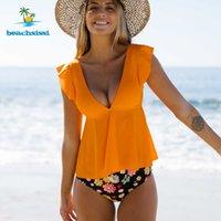Beachsissi Frauen Orange und Blume Badeanzug Zwei Teile Tankini Niedlichen Bikini Badebekleidung Rüsche V-Ausschnitt Schwimmenanzug 210629