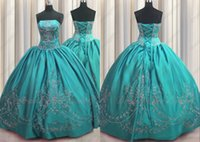 2022 Trendy Aqua Blue Sliver Embroidered Mexican Quinceanera Dresses Ball Gown Charra XV Satin Sequins Crystal Corset Vestido De 15 Anos Prom Evening Party Dress