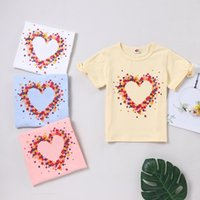 Baby Big Girl T Shirt Love Heart Bow Short Sleeve Ins Summer Kid Tee Top 4-9T