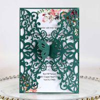 Tarjetas de corte del láser de la invitación de la boda de la mariposa verde para la ducha nupcial Quince Sweet 16 cumpleaños con printiña personalizada y sobre
