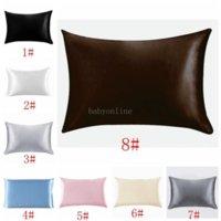 20 * 26inch silk cetim pillowcase home multicolor gelo silk almofada de seda zíper capa de travesseiro de cama dupla envelope envelope cama de travesseiro BC