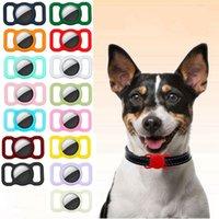 Étui de bande de sangle pour Airtag Dog Collier Tag Silicone Couvre Couvertures anti-perdues Animaux de protection Localisateur de suivi GPS FHL463-WLL