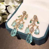 Dangle & Chandelier Fashion Korean Elegant Vintage Waterdrop Crystal Earrings For Women Girls Party Rhinestone Earings Jewelry Gifts