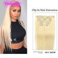 말레이시아 613 # 클립 인 헤어 익스텐션 14-24inch 70g 100g 100 % 인간의 버진 머리에 실크 스트레이트 금발 컬러 클립