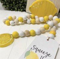 레몬 로그 컬러 나무 구슬 문자열 장식 펜던트 크리 에이 티브 대마 로프 술 비즈 노르딕 스타일 홈 인테리어 긴 67cm DWE5410