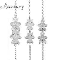 Moonmory Россия мальчик девушка браслет две фигуры форма 925 стерлингового серебра ювелирные изделия браслет с цирконом для рожденного мальчика