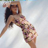 Casual Dresses Y2k Floral Printed Mesh Double Layer Mini Dress Women Vintage Elegant Korean Fashion Kawaii Strap Sundress Beach Party Iamty