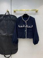 Milan Runway Jackets 2021 Manga Longa O Pescoço Mulheres Designer Casacos Marca Mesmo estilo Outerwear 0612-12