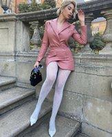 Повседневные платья Vero Shirly Women Winter Sexy с длинным рукавом V-образным вырезом розовый кожаный мини Blazer платье 2021 элегантный вечерний клуб Vestidos