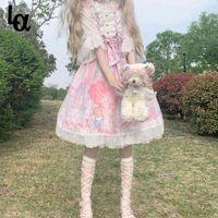 Удачи Японского стиля Викторианский сладкий лолита платье ежедневное летнее лето каваи мультфильм печати без рукавов платье без рукавов костюм косплей 210427