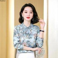 여성 블라우스 셔츠 실크 새틴 느슨한 패션 캐주얼 긴 소매 Blusas 꽃 인쇄 연꽃 잎 칼라 Houthion