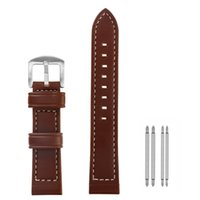 Watch Bands Men's Leather Strap Flat Line Three Color Brown Blue Foffee 18 20 22 24mm