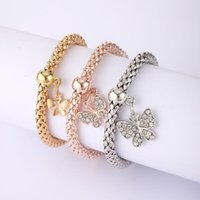 Charm Bracelets Tocona 3pcs Alloy Butterfly Set Gold Silver Color Pendant Bangles Thick Snake Chain Punk For Women Jewelry 3518