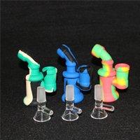 Silicone Bong Tubulações de Água Silicone Rigs De Petróleo Mini Bubbler Bong Hookahs Glass Bowl Nectar Collector Dabber Ferramentas 5ml Recipiente de Silicone