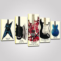5P Vintage Electric Guitar Canvas Painting Music Wall Art HD Print Picture Musical Instrument Hanging Poster for Boys Gifts