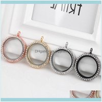 Necklaces & Jewelry30Mm Iced Out Crystal Round Magnet Memory Po Glass Living Floating Lockets Pendants Fashion Jewelry Without Chain Drop De