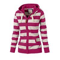 Moda de inverno Moda Womens Hoodies Diferente Cor Stripe Cardigan Zipper Suéteres Ao Ar Livre Desgaste De Decoração De Bolso