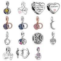 CKK صالح باندورا أساور الأم ابنة القلب سحر الفضة 925 الخرز الأصلي للمجوهرات صنع الاسترليني diy المرأة 542 Q2