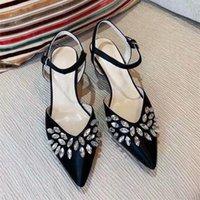 Sandalias de verano Hermosa Moda Mid-tacón alto Tacones Altos Ladies Romano Rhinestone Toe Sexy Mujeres Zapatos de Mujer Zapatos Formales para mujer Zapatos de boda