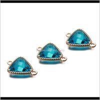 50pcslot 16x12mm pendentif coloré triangle transparent verre cristal noisette de naissance pour collier bricolage bijoux fabrication rsn8j sozwn