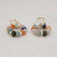Go2BOHO 2021 Edelstahl Kreis Ohrring Modeschmuck Naturstein Ohrringe für Frauen Ohr Ring Hoop Aretes Großhandel Huggie
