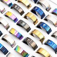 50pcs anneau de la prière de Seigneur anglais Jésus en acier inoxydable Anneaux de bijoux pour femmes hommes multicolores