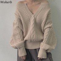 Женские свитеры Woherb осень зима толстый вязаный свитер женщин V-образным вырезом пуловер корейский винтаж фонарь рукава крутящий джемпер тянуть Femme