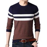 Browon Brand Осенний свитер Мужчины O-образным вырезом Полосатая крошевая одежда Тонкие свитеры Мужской с длинным рукавом Социальная одежда