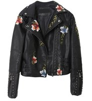 Women's Jackets 2021 Women Floral Print Embroidery Faux Soft Leather Jacket Coat Turn-down Collar Casual Pu Motorcycle Black Punk Outerwear