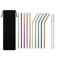 Drinking Straws 12pcs Set Reusable Stainless Steel With 2 Brushes Carry Bag Eco-Friendly Straw For Tumblers Beverage Coffee Mason Jar