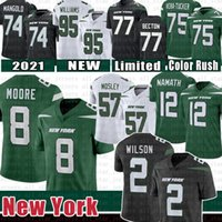 "2 Zach Wilson 8 Elijah Moore Football Jersey C.J. Mosley New Joe Namath Mekhi Boton Quinnen Williams York ""Jets"" Wayne Chrebet Vera-Tucker Klecko Gastineau Martin"