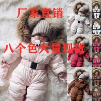 New baby winter wool collar hood thickened warm solid color lovely sports zipper waist closing climbing suit