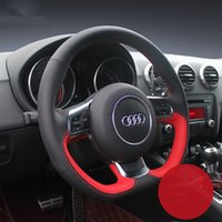 DIY custom made Hand-stitched car steering wheel cover For Audi A1 A3 A8L S5 S7 SQ5 TT R8 car accessories wheel cover