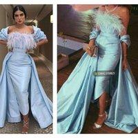 2021 Plus Size Arabic Aso Ebi Stylish Feather Sexy Prom Dresses Sheath Satin Tea Length Evening Formal Party Second Reception Gowns Dress ZJ404