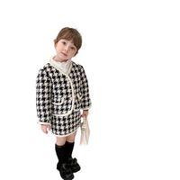 Girls Outfits Kids Clothing Sets Baby Clothes Children Suit Autumn Winter Long Sleeve Plaid Jacket Tops Short Skirt Dress 2Pcs B8461