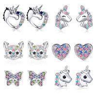 Unicorn Stud Earrings 925 Silver Multi-Color Rhinestone Small Heart Cat Rainbow Earring For Women Wedding Fashion Jewelry Gifts