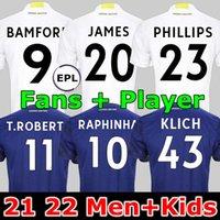 팬 플레이어 LEEDS 축구 유니폼 유나이티드 21 22 제임스 해리슨 Poveda Bamford Klich T.Roberts Raphinha Rodrigo M LORENTE R 2021 2022 남성 + 키즈 축구 셔츠 유니폼