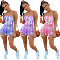 Summer Outfits Sports Leisure Jumpsuit Women Fashion Tie-dye Printed Sling Casual One-piece Shorts Siamese Trousers Ladies Girls Trendy Leggings Pants G69WEXX