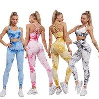 Kadın Spor Yoga Set Egzersiz 2021 Kravat Boyalı Stil Suit Spor Giyim Tayt Fitness Sutyen İçin Dikişsiz Kesintisiz Kırpma Üst Kolsuz Kıyafet