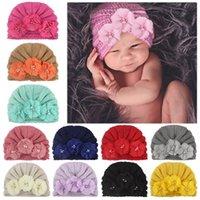 Cute Newborn Hats Toddler Kids Baby Boy Girl Turban Cotton Knitting Three Pearl Beanie Hat Winter Warm Cap Bandanas Hat Red Pink