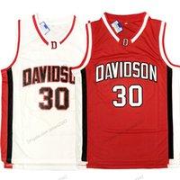 Navio de US Stephen Curry # 30 Davidson Wildcats College Basketball Jersey Costurado Branco Tamanho Vermelho S-3XL Qualidade superior