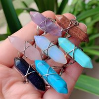 Fashion Wire Wrapped Crystal Rings Healing Stone Natural Women Ring Adjustable Open Bullet Shape Amethysts Pink Quartz Tiger Eye Lapis Finger Jewelry