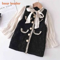 Bear Leader Girls Princess Patchwork Dress Fashion Party Costumes Kids Bowtie Casual Outfits Baby Lovely Suits for 2 7Y 210915