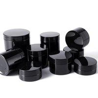 Black Pet Plastic Cosmetic Gläsern Flaschen mit Deckeln Innenabdeckung Nachfüllbar BPA frei Leckfest 50ml 60ml 80 ml 100ml 150 ml 200ml 250 ml 500ml für Haarwachs, Schlammmaske, Sahne